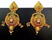 22 Yellow Gold Fine Nice Looking Earring With Gold Bells Filigree Gold Work Ind