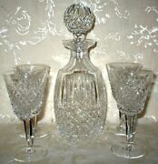 Beautiful Signed Waterford Crystal Decanter And Matching Signed 4 Wine Glasses