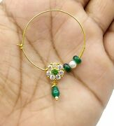 Rajasthani 20k Gold Nose Ring Nath Bridal Antique Cubic Zirconia And Color Stone