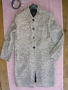 Talbots Nwt 299 Black/ivory Striped Boucle Woolblend Belted Coat Size 14 Misses