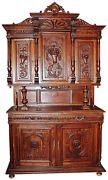 1880s Antique French Baroque European Carved Hutch Buffet