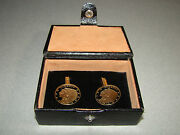 Vtg Us Liberty Indian Head Coin Brass Cufflinks In Leather Casewestern Germany