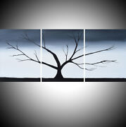 Wood Tree Large Painting Canvas Triptych Artist Abstract 3 Panel Art Forest