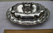 Fine English Sheffield Silverplate Covered Serving Dish-inset Crest-creswick