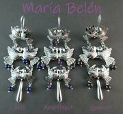 Maria Belen Taxco Madetriple Tier Sterling Dove Earrings With 3 Stone Choices