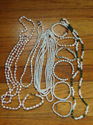 Costume Jewelry Pearl Lot Mixture Of Necklaces, Bracelets