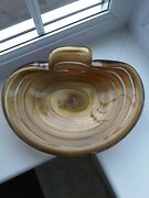 Rare Large Seguso Murano Art Glass Bowl -coloured Bands And Gold Leaf C1950's