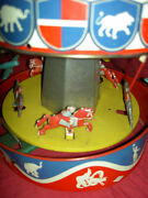 Wolverine 31a, Musical Lithographed Tin, Wind-up Merry-go-round, Carousel 1930s