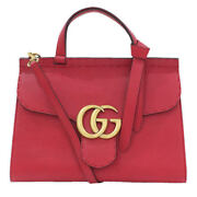 421890 Marmont Gg Shoulder Hand Bag Red Leather Woman Luxury Auth Unused