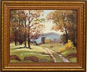 Ernest T. Fredericks American 1877-1959 Oil Painting Fiery Autumn C.1940