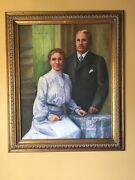 Painting Victorian Stained Glass Scene Wedding Couple / Portrait Husband And Wife.