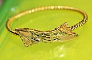 L6 Solid Real 21k Yellow Gold Ribbon 6.5 Bangle Ladies Vintage Estate Must See