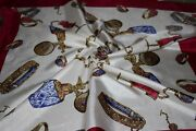 Christian Dior White With Multi-colors Jewelry And Perfume Bottles Women Scarf
