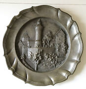 1915 Franz Kainzinger Pewter Wall Plate Scenic Bas Relief Wwi Bavaria Marked