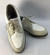 Footjoy Womens Europa Leather Spikes Golf Shoes White Beige 98910 Saddle 8 M