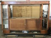 7and039 Tall 1930s Art Deco Glass Front Locking Commercial Display Case On Casters
