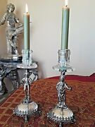 Antique Sterling Silver Candlestick And Rock Chrystal By Neresheimer Germany