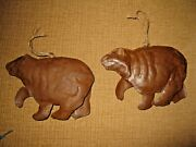 2 Tin Metal Grizzle Bear Christmas Ornament Wilderness Brown