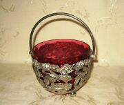 Open Sugar Bowl Bohemian Art Glass Cranberry Colored With Silver Plate Holder