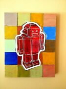 Jeff Cohen Original Oil And Encaustic Painting On Wooden Panel Robot Fragments