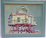 Ronald Charles Horst American, 1938-2015 Oil Painting, Drum Point Lighthouse