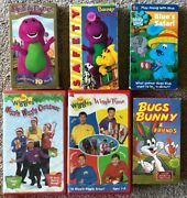 Vintage 6 Vhs Collectible Childrenand039s Barney The Wiggles Blueand039s Clues Bugs Bunny