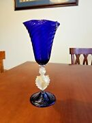 Signed Cenedese And Gasparini Murano Glass Cobalt Blue Wine Goblet 9 5/8 Mint 2