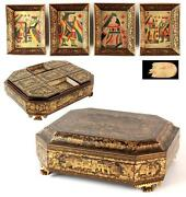 An Early/mid 19th C Chinese Export Cantonese Lacquer Gaming Box On Paw Feet