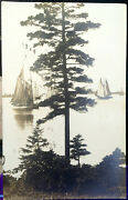 Sailboats Boothbay Harbor Maine Photo Post Card 1928 Lincoln County Waterfront