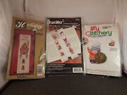 3 Counted Cross Stitch Kits-holiday Bell-noel And Santa Bookmark- 3d Boy Ornament