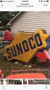 Viintage Original Lighted Sunoco Sign Full Size With Extra Crated Arrows.