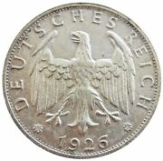 1926 E Silver Weimar Republic 2 Reichmark Coin About Uncirculated Condition