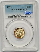 1951 Pcgs Ms-67+fb Qa Roosevelt Dime Frosty White Light Rainbow Immaculate