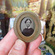 Antique Victorian Miniature Dollhouse Picture Frame Jewelry Tin Type Gold Fill