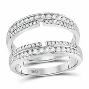 14kt White Gold Womens Round Diamond Double Row Bisected Wrap Guard Enhancer