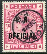 1890 5/- Rose On White Paper I.r. Official Raised Stop Variety Used. S.g. 09a