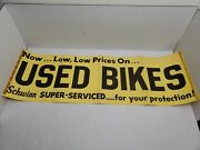 Rare Vintage 1950and039s Schwinn Bicycles Used Bikes Shop Store Banner Sign Poster