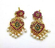 Handmade Earring Pair 22k Yellow Gold Ruby Pearl Emerald Antique Ethnic Jewelry