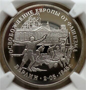 36. 1995l Russia Ngc Pf 70 Ultra Cameo 3 Rouble Wwii Berlin Captured