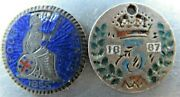 Great Britain Two Enameled Coins 3 Pence 1887 4 Pence 1855.