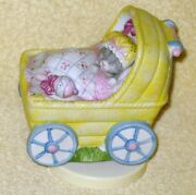 Rare Vntage Kitty Cucumber Yellow Buggy Music Box By Schmid Brahms Lullaby