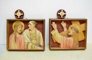 + Nice Convent Set Of 14 Plaster Stations Of The Cross + 9 1/2 Ht. Str4