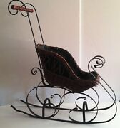 Three Hands Corp Vintage Brown Wicker And Wood Sleigh With Wood Handle