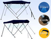 Boat Bimini Top 3 Bow / 4 Bow Navy Blue Canopy Cover 6ft / 8ft Long Freee Clips
