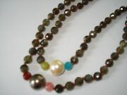 Chan Luu Nwt Double 16 Olive Stone Bead Necklace W/pearls