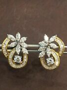 Stamp 585 14k Gold 2.06 Cts Round Marquise Baguette Fancy Diamonds Stud Earrings