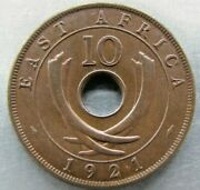 East Africa 10 Cents 1921 Lovely Red-brown Unc. Scarce Grade For Year.