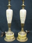 Pair Of 1940's Carmel Marble With Ornate Floral Brass Bands 17 Table Lamps