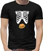 Burger Tummy Mens T-shirt - Skeleton - Food - Barbecue - Takeaway - Hungry