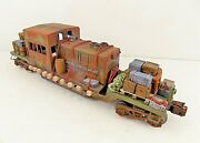O Lionel Flat Car Military Army Switcher Shell Custom Load Barrels Boxes Crates